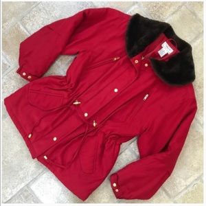 Talbots Red Faux Fur Collar Coat SP